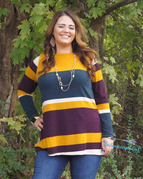 Fall Hard For Autum Mustard Striped Brushed Knit Tunic Plus Size USA Made