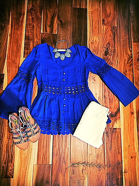 Royal Blue Peplum Crochet Top - TheBrownEyedGirl Boutique