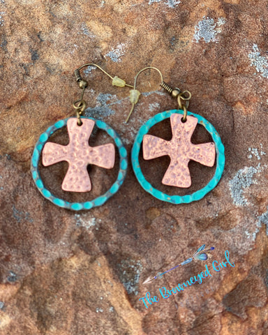"Hand Made Hammered Hoop Earrings With A Dangled Cross. Two Tone Turquoise/ Rose With Distressed Detail Approx 1"" Hoop"