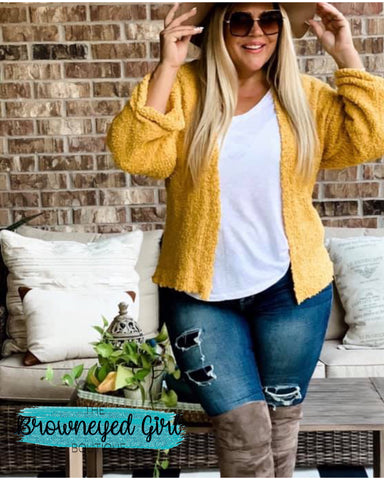 Mustard Yellow Popcorn Cardigan With Ruching And Slightly Rolled Cuff USA Designed