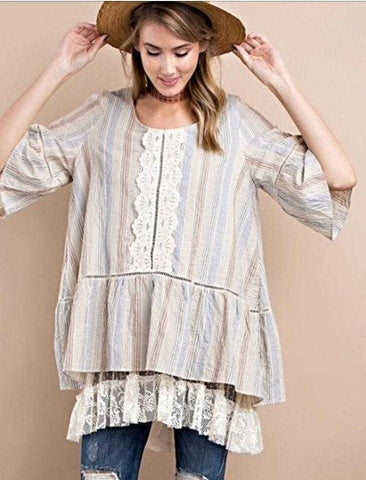 Denim Blue And Beige Striped Baby Doll Top Lace agent Details
