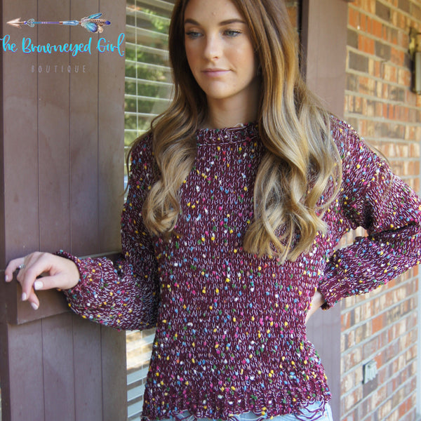 Plum Confetti Sweater Soft Knit Stretchy Slightly Distressed Hem Fits True To Size