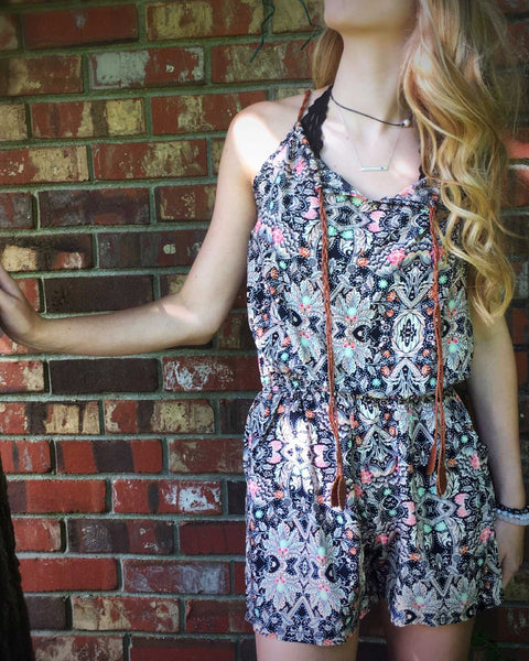 Mosaic Print Romper in Corals Sleeveless