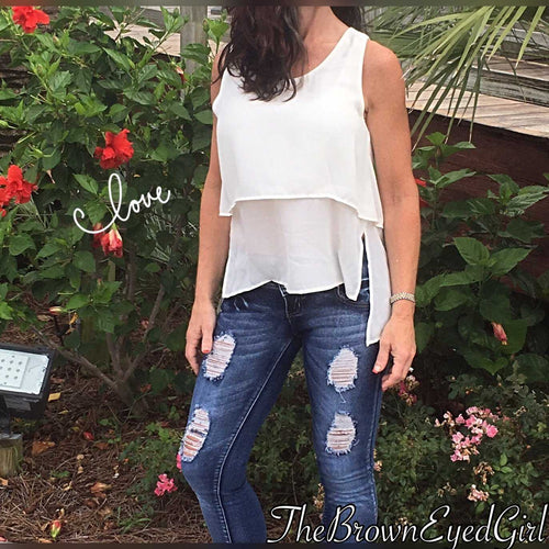 Tiered Layers  Off Woman  wearing White Layred Tank Top White Tank - TheBrownEyedGirl Boutique