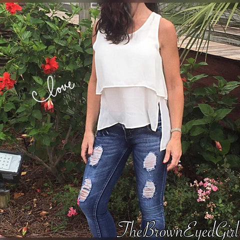 Tiered Layers  Off White Tank - TheBrownEyedGirl Boutique