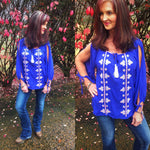 Royal Blue Embroidered Color Pop Top - TheBrownEyedGirl Boutique