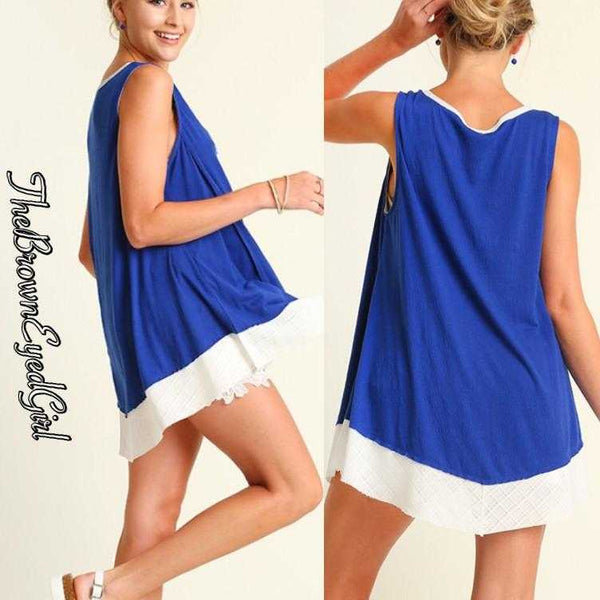 Alissa Swing Royal Blue Tank Top Blouse - TheBrownEyedGirl Boutique