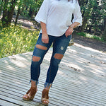 Cropped Fringe Distressed Ripped  Bottoms UP Jeans - TheBrownEyedGirl Boutique
