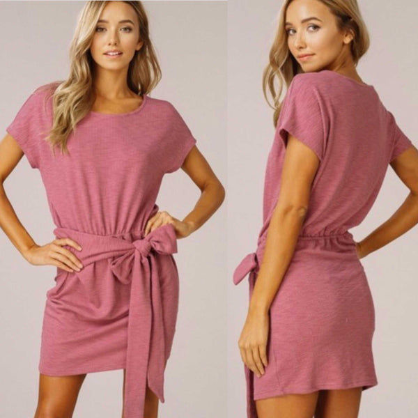 Best Selling Front Tie Waist Dress In Rose By Listicle
