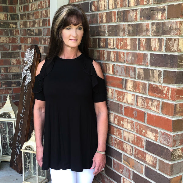 Black Flutter Ruffle  Sleeve Cold Shoulder Top USA Made Rayon Spandex