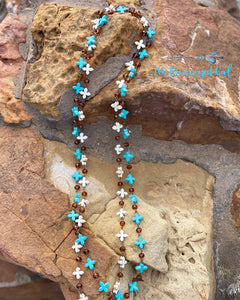 Semi-Precious Stone Cross Necklace