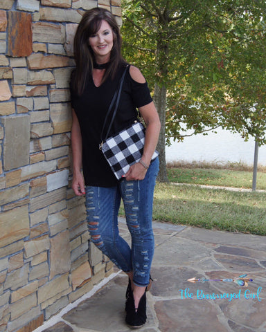Buffalo Plaid Cross Body /Clutch Lined Zip Closure Can be Carried as Crossbody or wristlet