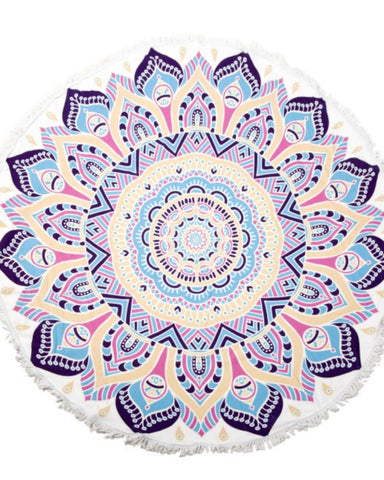 Boho Abstract Flower Fringe Luxury Round Beach Towel