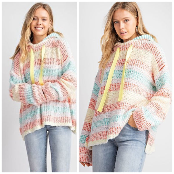 Easel Cotton Candy Striped Sweater PullOver Hoodie