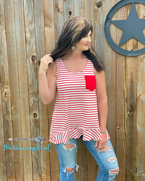 All American Red And White Stripe Pocket Tank