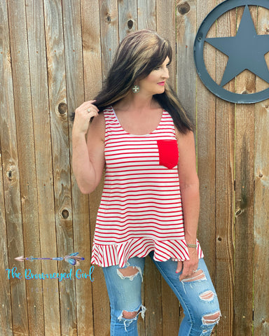 All American Red And White Stripe Tank