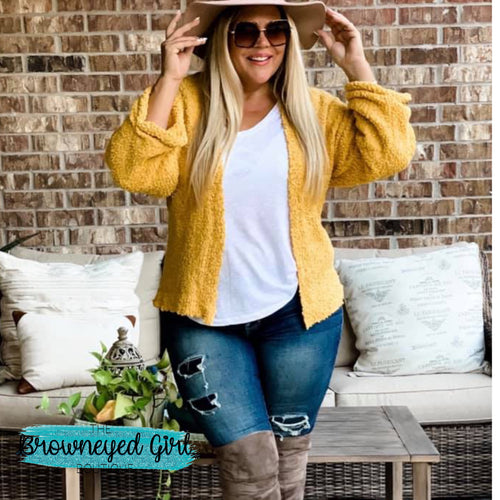 Clara Mustard Yellow Popcorn Sweater Cardigan - TheBrownEyedGirl Boutique