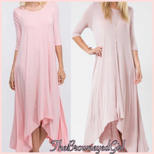 Essential Solid Flare 3/4 Sleeve Side Pocket Maxi - TheBrownEyedGirl Boutique