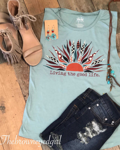 Living The Good Life Graphic Tank Top