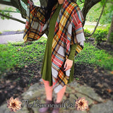 Bold patterns make your outfit with the ideal soft warm layer. Mustard bold plaid blanket scarf