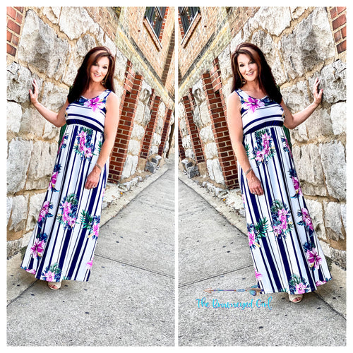 Woman Wearing Floral Navy Stripe Tank Baby Doll Maxi Material Is Ultra Soft Stretchy Fits True To Size