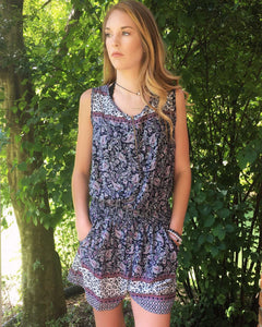 NAVY AND PAISLEY PRINT SLEEVELESS ROMPER