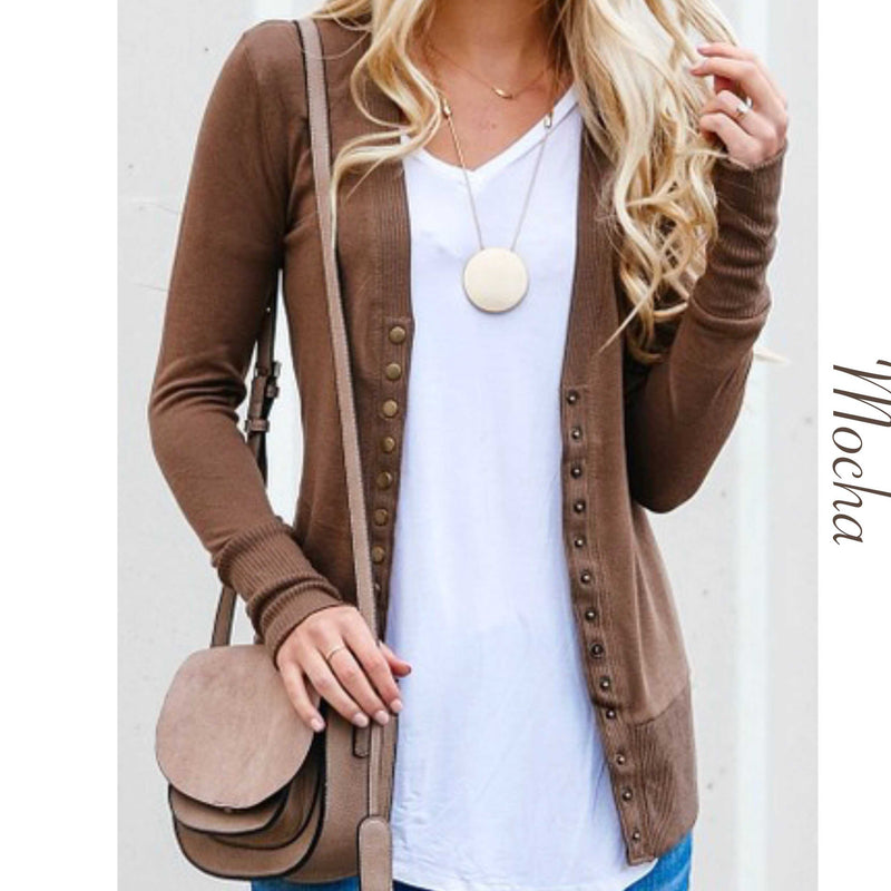 Womens Snap Front Sweater Cardigan - TheBrownEyedGirl Boutique