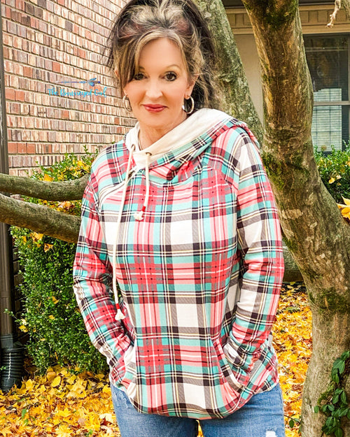 Merry Plaid Double Hoodie Pull Over