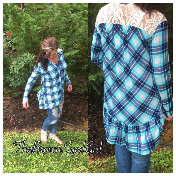 Must have Plaid Lace Tunic