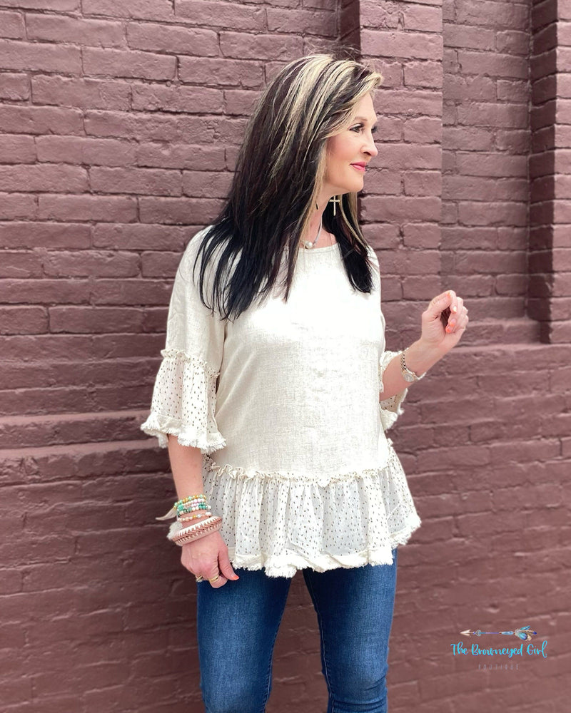 Spring Cream Poppy Dot Blouse