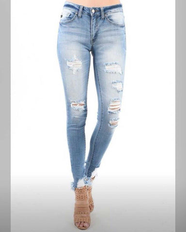 Feeling Fabulous Distressed Kan Can Jeans Light Wash Distressed At Ankle