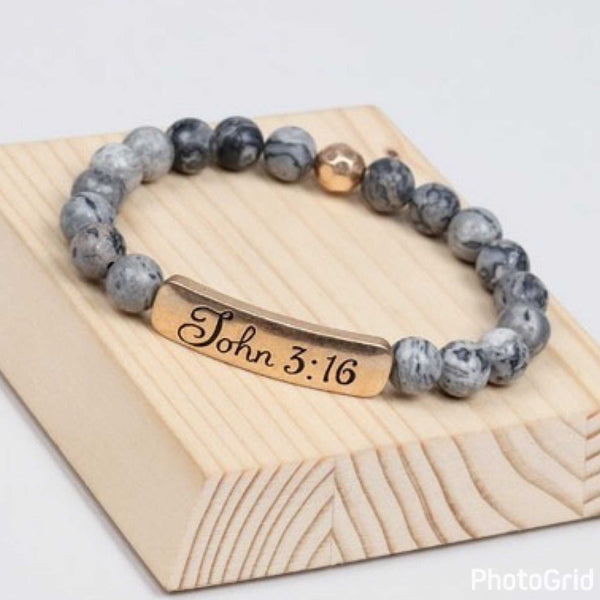 John3:16 grey natural stone stretch bracelets perfect graduation gift