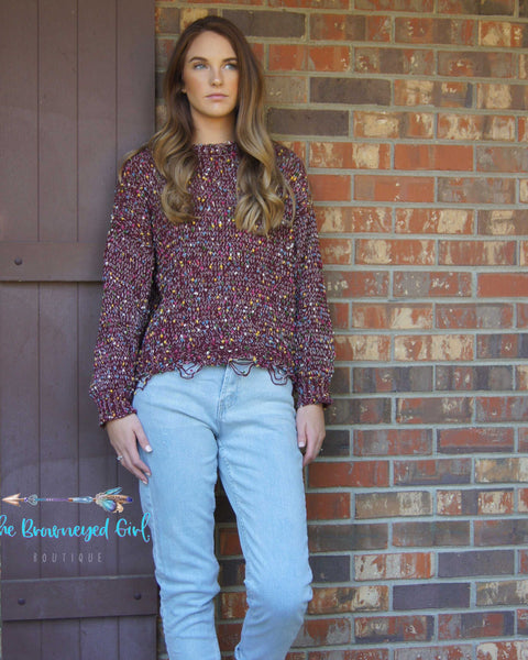 Plum Confetti Distressed Sweater Soft Stretchy Knit Long Sleeve