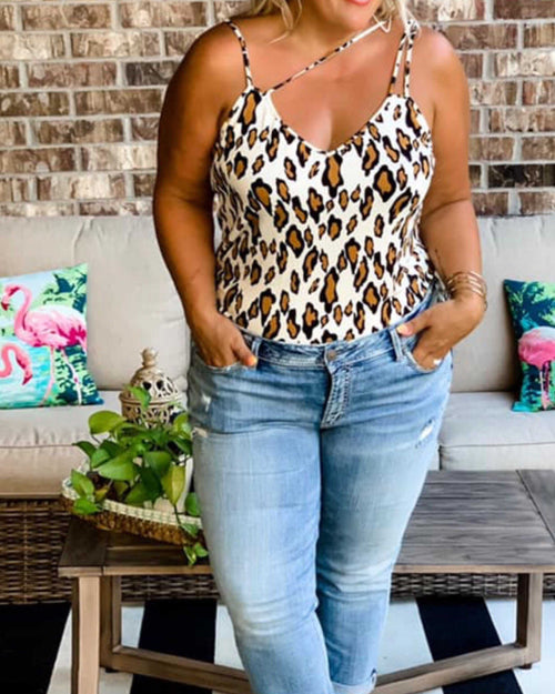 Giraffe/Camo Print Strappy Tank - TheBrownEyedGirl Boutique