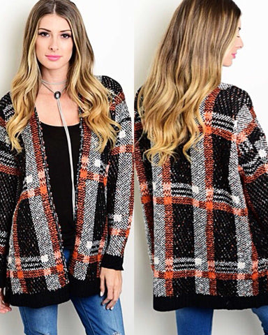 Lets Fall Cozy Up Plaid  Sweater Cardigan - TheBrownEyedGirl Boutique