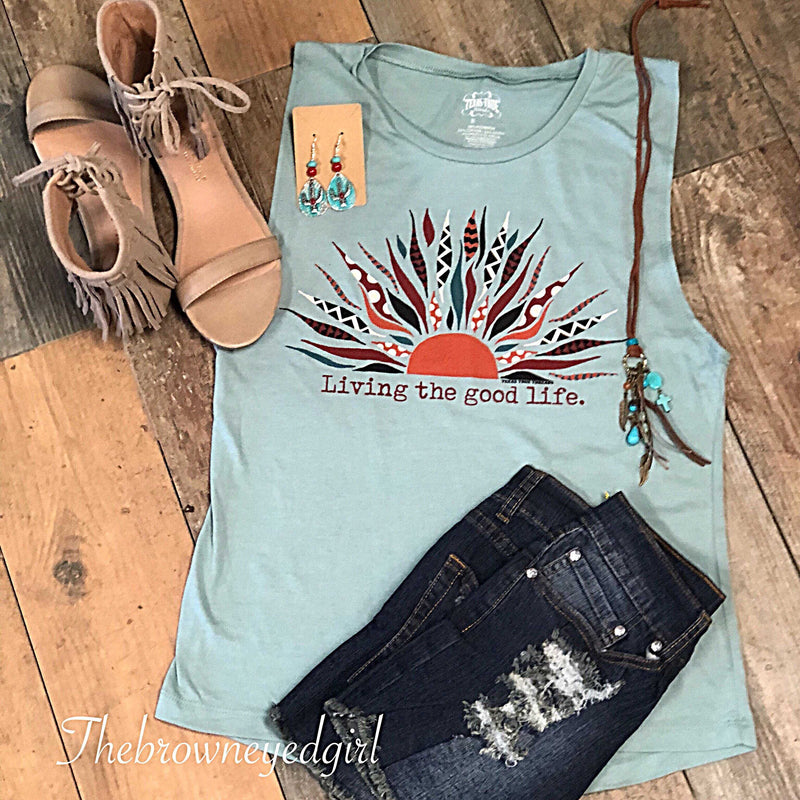 Living The Good Life Graphic Tank Top - TheBrownEyedGirl Boutique