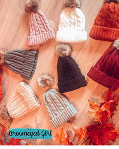 Cable Knit Soft Pompom Beanie - TheBrownEyedGirl Boutique