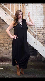 Bailey Basic Black Lace Up Maxi - TheBrownEyedGirl Boutique