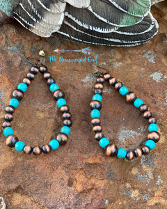 The Ariel Hoop Beaded Earrings Turquoise Bronze
