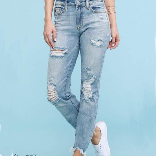 Judy Blue Distressed Boyfriend Jeans light wash-thebrowneyedgirl.boutique/products/alexa-judy-blue-boy-friend-distressed-jeans