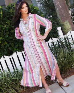 Boho Embroidered Candy Stripe Maxi Duster