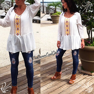 Ivory  Bohemian Embroidered Baby Doll Tunic - TheBrownEyedGirl Boutique