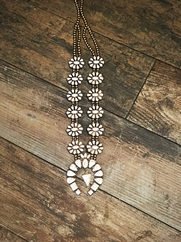 Ivory Danielle Squash Blossom Necklace Ivory Set In Gold Nickel And Lead Free