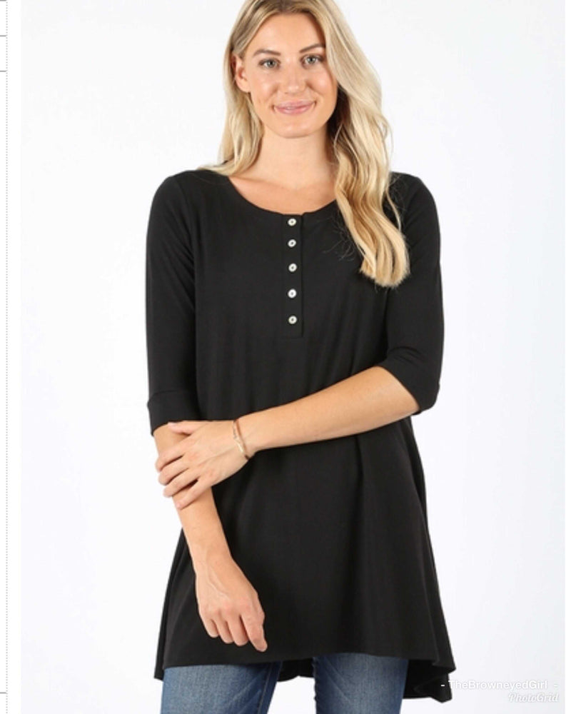 Sarah Black Basic  3/4 Sleeve Top - TheBrownEyedGirl Boutique