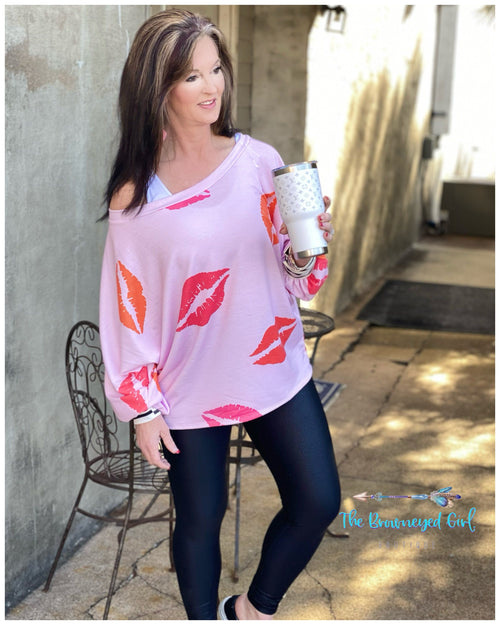 Valentines Sweetly Kissed Lips Off The Shoulder Top