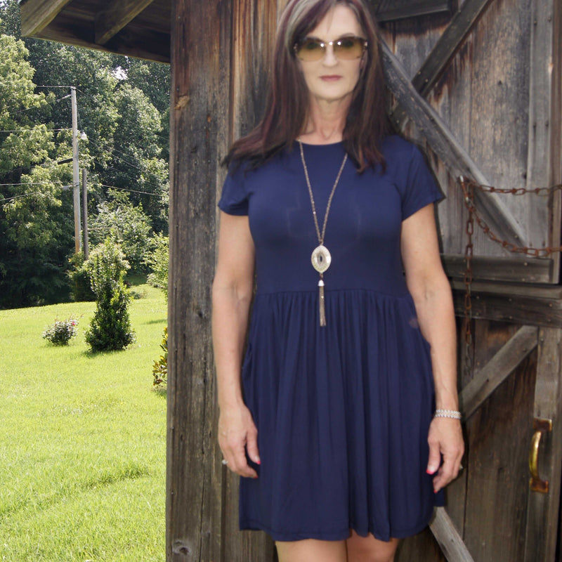 Must Have Navy Baby Doll Dress - TheBrownEyedGirl Boutique