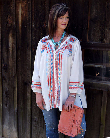 Ivory Spring Beautiful Embroidered long Sleeve Top Plus Size