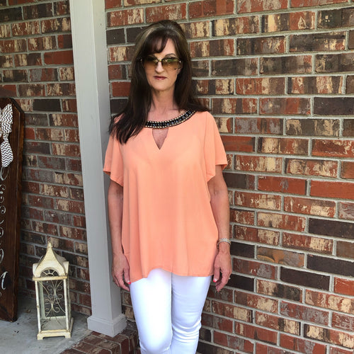 Coral Peach Jeweled Key-Hole Blouse - TheBrownEyedGirl Boutique