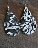 Vintage Floral Leather Earrings - TheBrownEyedGirl Boutique