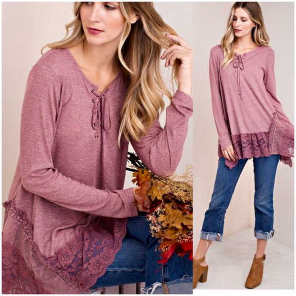 Wild Berry Ribbed Vintage Lace Tunic - TheBrownEyedGirl Boutique